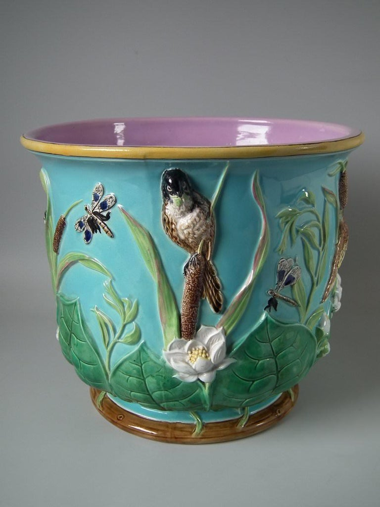 Large George Jones Majolica Bird and Pond Lily Jardinière For Sale 1