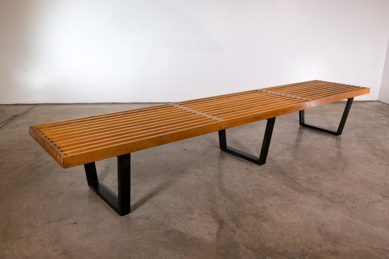 Mid-Century Modern Large George Nelson Slat Bench for Herman Miller For Sale