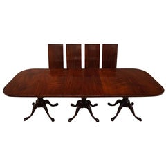 Large George V Triple Pillar Mahogany Dining Table 18 Seat