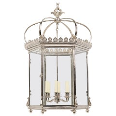 Large Georgian Hexagonal Lantern, Nickel