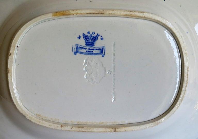 Large Georgian Mason's Ironstone Serving Dish Bamboo & Basket Pattern circa 1815 For Sale 9