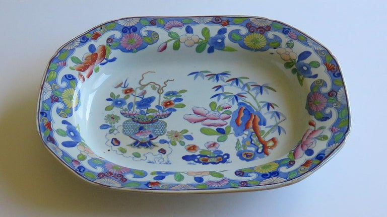 Large Georgian Mason's Ironstone Serving Dish Bamboo & Basket Pattern circa 1815 In Good Condition For Sale In Lincoln, Lincolnshire