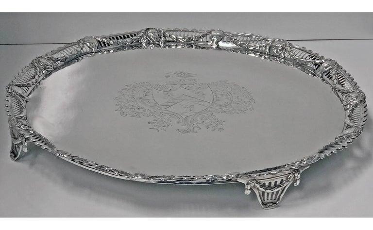 English Large Georgian Silver Salver, London 1774 John Carter For Sale