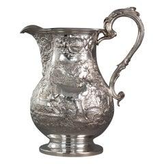 Large Georgian Silver Wine Jug or Ewer London 1824 by William Eley II