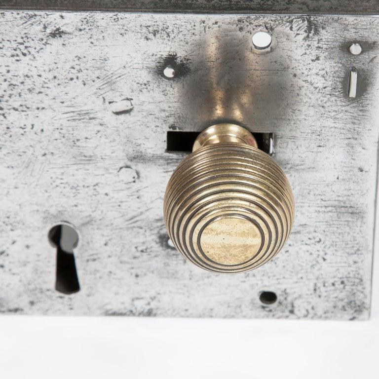 English Large Georgian Steel Rim Lock with Brass Beehive Handle For Sale