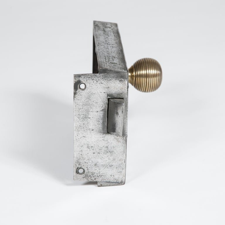 Large Georgian Steel Rim Lock with Brass Beehive Handle In Good Condition For Sale In London, GB