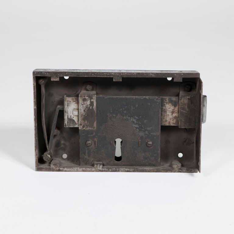 18th Century Large Georgian Steel Rim Lock with Brass Beehive Handle For Sale