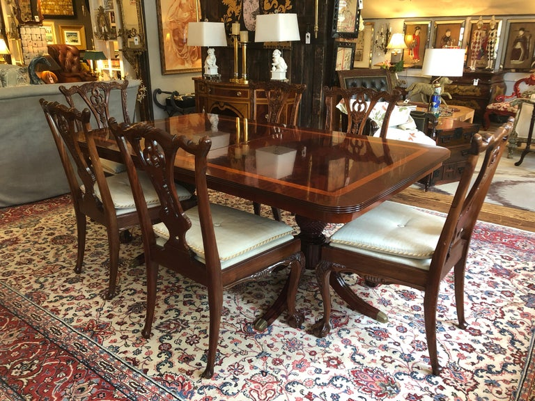 Large Georgian Style Double Pedestal Elegant Dining Table at ...