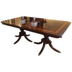 Large Georgian Style Double Pedestal Elegant Dining Table
