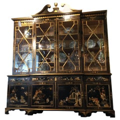 Large Georgian Style English Display Cabinet with Oriental Chinoiserie Designs