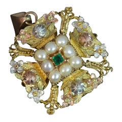Large Georgian Tri Gold Emerald and Pearl Pendant, circa 1780