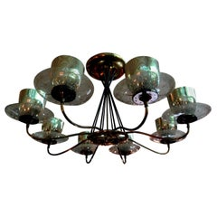 Large Gerald Thurston for Lightolier Brass, Iron and Glass Chandelier