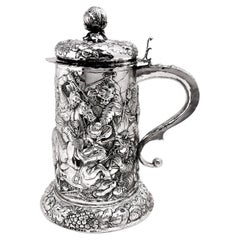 Large German Antique Silver Tankard / Stein / Flagon, circa 1870