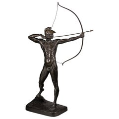 Large German Bronze 'The Archer' by Ernst Moritz Geyger, Berlin