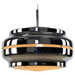 Large German Chromed Cylindrical UFO Chandelier Mid-Century Modern Germany 1970s