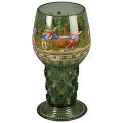 Large German Enameled Green Glass Goblet, Lobmeyer, circa 1880