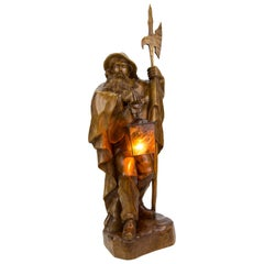 Large German Hand Carved Wooden Sculpture Lamp Night Watchman with Lantern