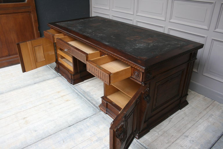 Large German Historicism Renaissance Revival Desk, circa 1890 For Sale 4