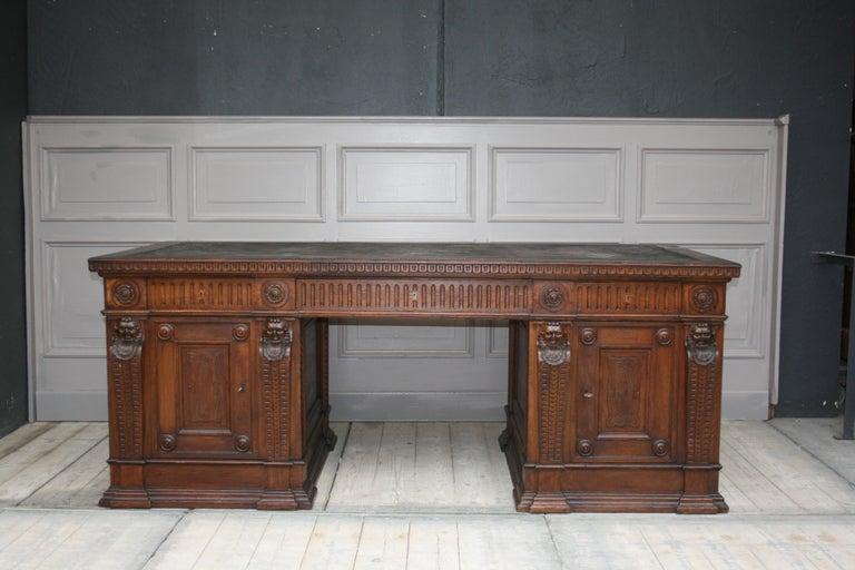 Original German historicism or Renaissance Revival desk from the end of the 19th century.