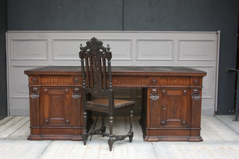 Carved Large German Historicism Renaissance Revival Desk, circa 1890 For Sale