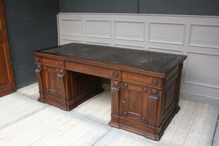 Late 19th Century Large German Historicism Renaissance Revival Desk, circa 1890 For Sale