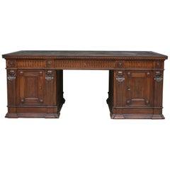 Large German Historicism Renaissance Revival Desk, circa 1890