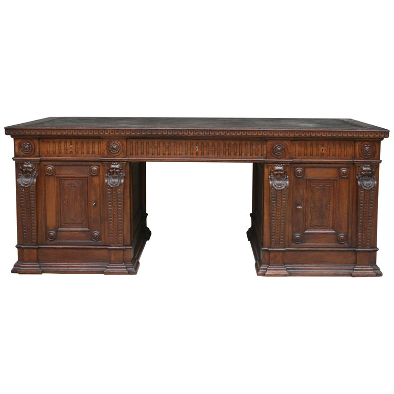 Large German Historicism Renaissance Revival Desk, circa 1890 For Sale