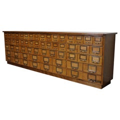 Large German Industrial Beech and Oak Apothecary Cabinet, Mid-20th Century