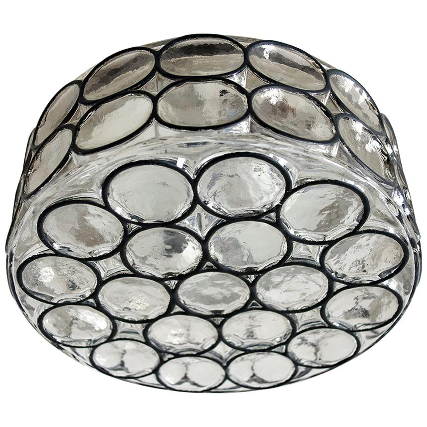 Large German Blown Glass Ceiling or Wall Light Flush Mount, 1960s