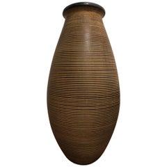 Large German Midcentury Fine Ringed Stoneware Floor Vase