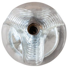 Large German Peill & Putzler 'Wave' Clear and Chrome Flush Mount or Wall Sconce
