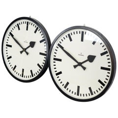 Large German Station Clocks by Siemens, circa 1950s