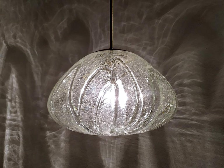 Mid-Century Modern Large German Vintage Blown Glass Globe Ceiling Hanging Pendant Light, 1960s For Sale