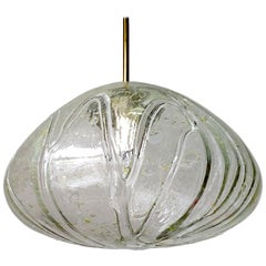 Large German Vintage Blown Glass Globe Ceiling Hanging Pendant Light, 1960s