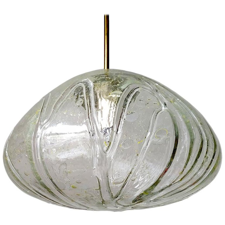 Large German Vintage Blown Glass Globe Ceiling Hanging Pendant Light, 1960s For Sale
