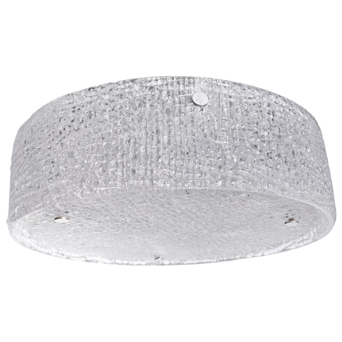 Large German Vintage Textured Murano Glass Ceiling Light Flushmount, 1960s