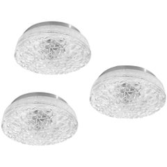 Large German Vintage Textured Murano Glass Ceiling Wall Lights Flushmounts 1960s