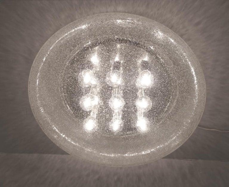 German Large Gernan Vintage Bubble Glass Wall Ceiling Light Flush Mount, 1970s For Sale