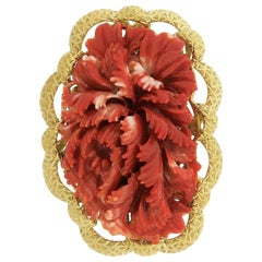 Large GIA No Dye Carved Red Coral Brooch with Hand Engraved 18 Karat Gold Frame