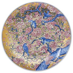 Large Gilded Blue Japanese Imari Porcelain Charger by Contemporary Master Artist