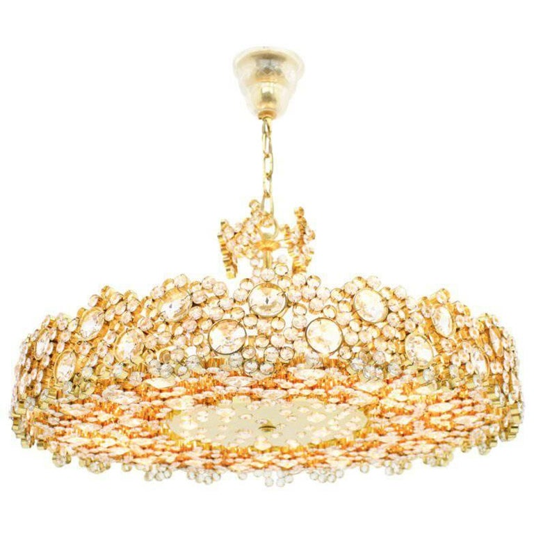 Large Gilded Brass and Crystal Glass Chandelier by Palwa, Germany, 1960s