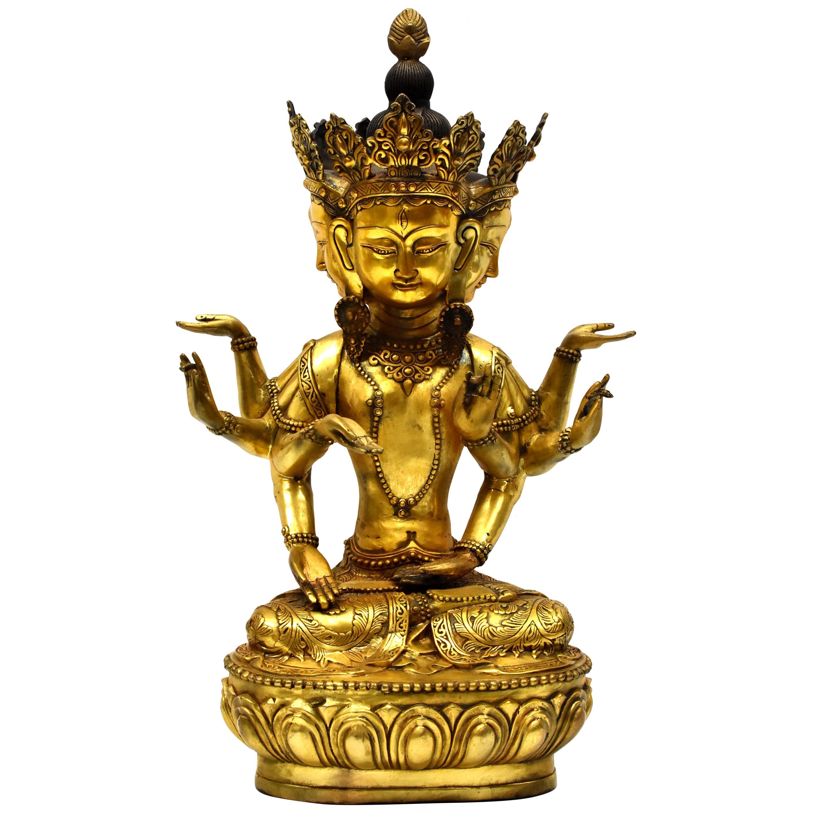 Large Gilded Tibetan Buddha Statue Vasundhara
