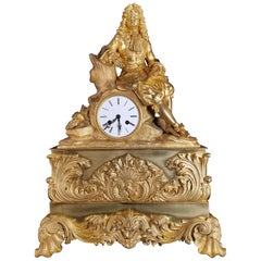 Large Gilded Bronze Clock with Louis XIV Figure, 18th Century