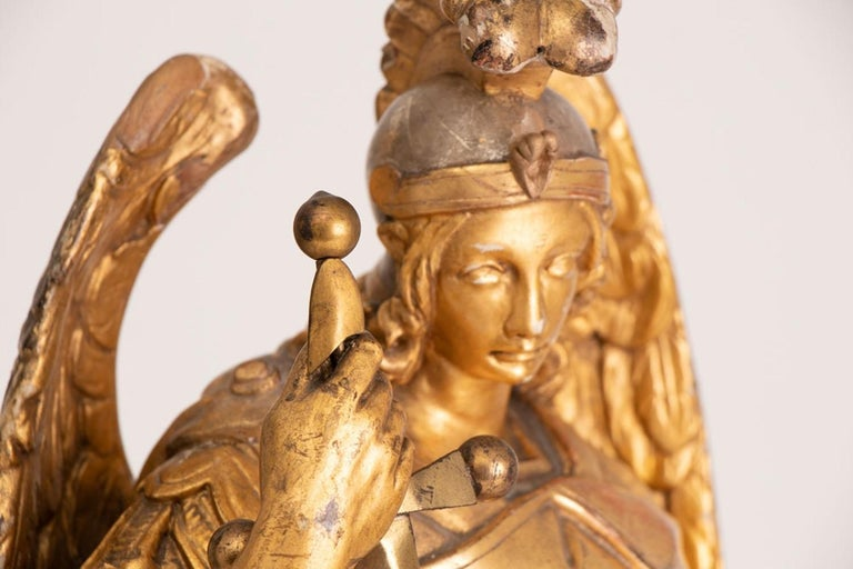 Classical Greek Large Gilded Ecclesiastical Statue of Saint Michael For Sale