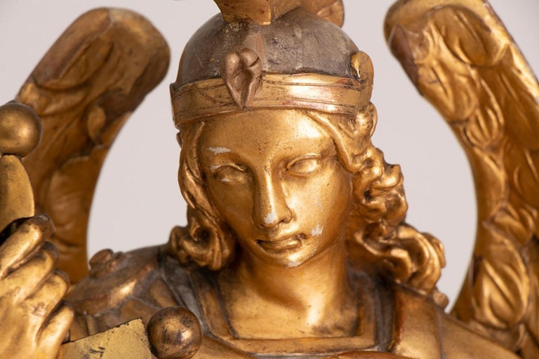 French Large Gilded Ecclesiastical Statue of Saint Michael For Sale