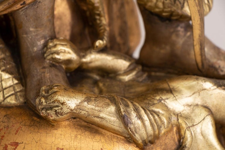 Gilt Large Gilded Ecclesiastical Statue of Saint Michael For Sale