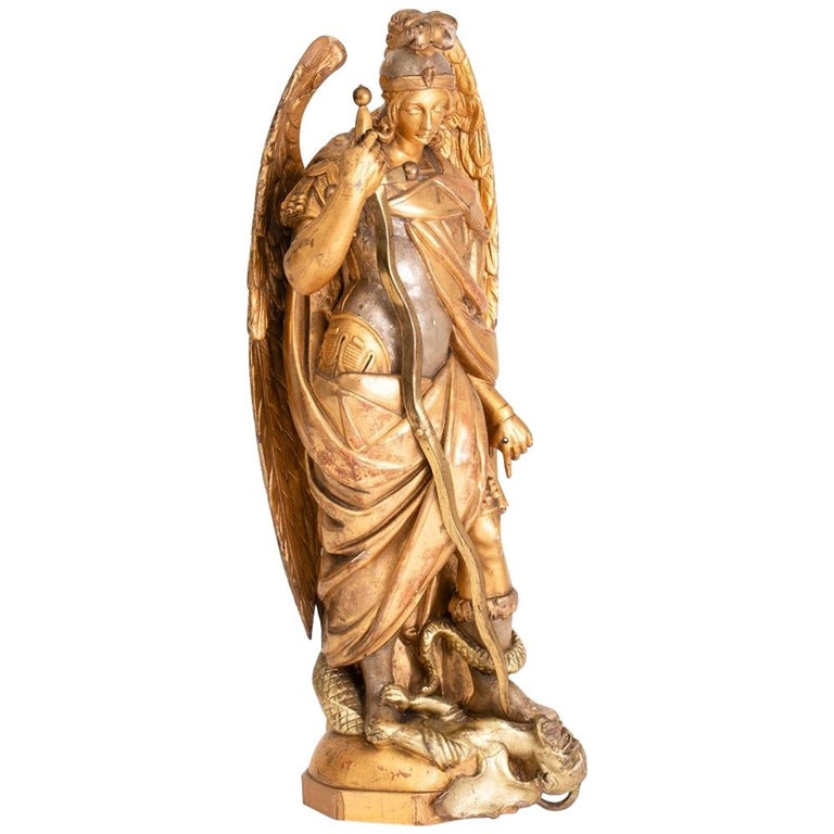 Large Gilded Ecclesiastical Statue of Saint Michael For Sale