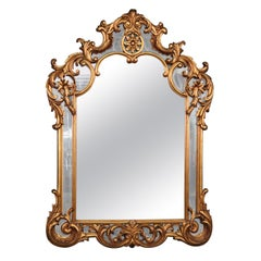 Large Gilded French Rococo Wall Mirror, C1960