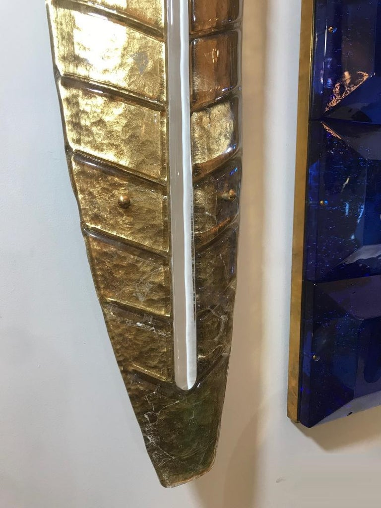 Modern Large Gilded Leaf Murano Glass Sconces For Sale