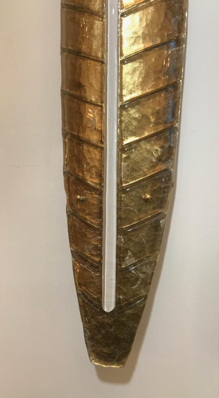 Contemporary Large Gilded Leaf Murano Glass Sconces For Sale
